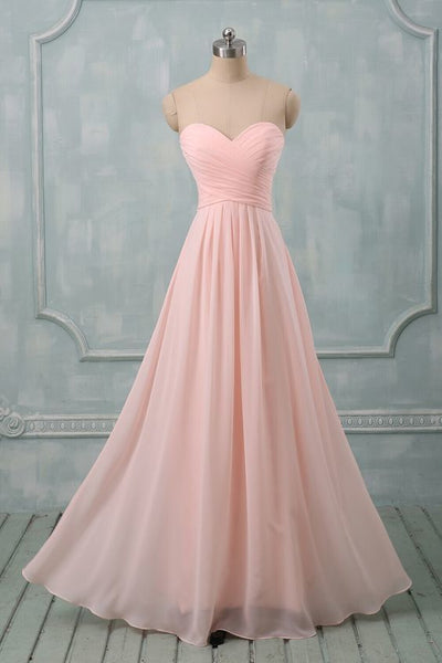 Lovely Light Pink Sweetheart Long Bridesmaid Dress, Long Prom Dress 2020