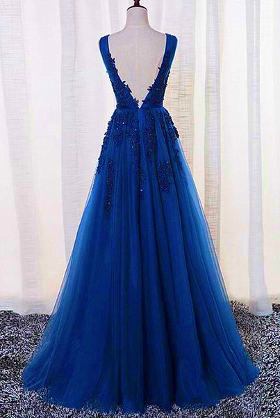 Royal Blue Long Tulle A-line Bridesmaid Dress, Blue Prom Dress