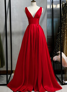 Elegant V-neckline Red Satin Long Party Dress, New Prom Gown 2020