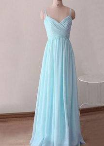 Light Blue Chiffon Simple Straps Sweetheart Long Party Dress, A-line Prom Dress
