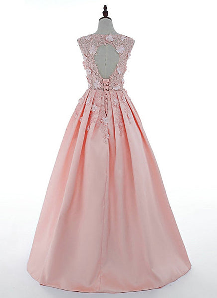 Pink Satin Flowers Floor Length Junior Prom Dress, Pink Formal Dress
