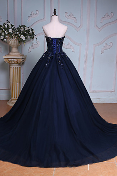 Navy Blue Lace Applique Tulle Long Party Dress, Blue Formal Gown