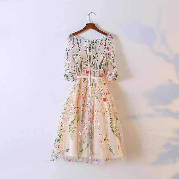 Light Champagne Knee Length Floral Party Dress, Cute Homecoming Dress