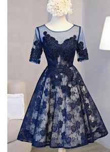 Navy Blue Lace Knee Length Short Sleeves Party Dress, Homecoming Dress 2020