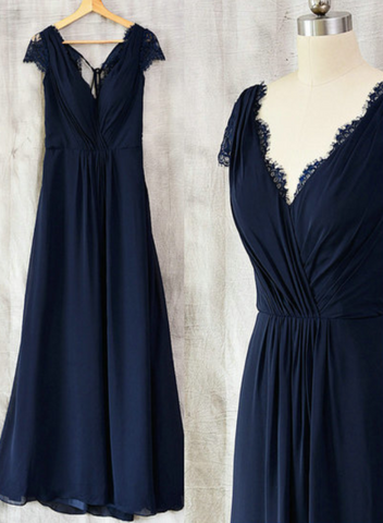 Navy Blue Chiffon with Lace A-line Long Bridesmaid Dress, Wedding Party Dress