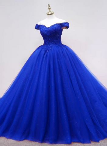 Gorgeous Royal Blue Tulle Ball Gown Party Dress with Lace, Blue Long Formal Dress