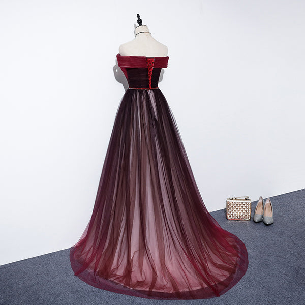 High Quality Gradient Dark Red Sweetheart Long Prom Dress, Tulle Evening Dress