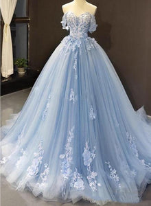 Blue Sweetheart Off Shoulder with Lace Applique Party Dress, Blue Sweet 16 Dress
