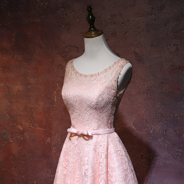 Adorable Pink Lace Short Wedding Party Dress, Pink Bridesmaid Dresses