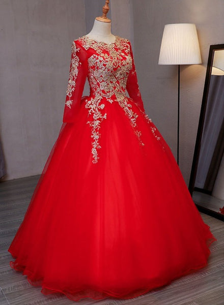 Red Long Sleeves Tulle with Gold Lace Applique, Red Prom Dress Evening Dress