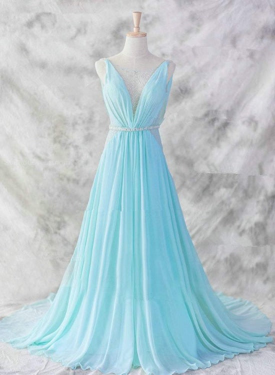 Sexy Light Blue Chiffon Backless Long Evening Gown, Blue Party Dress 2021