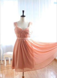 Lovely Soft Pink Chiffon Knee Length Bridesmaid Dress, Short Party Dress 2020