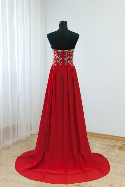 Red Chiffon Strapless Long A-line Prom Dress, Junior Prom Dress