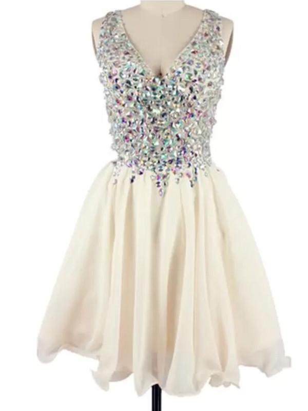 champagne short prom dress