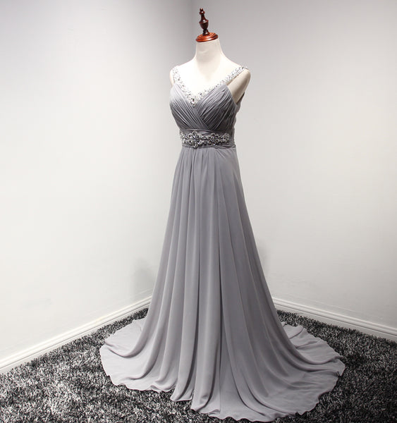 Lovely Grey Tulle A-line Chiffon Party Dress, New Prom Dress 2020