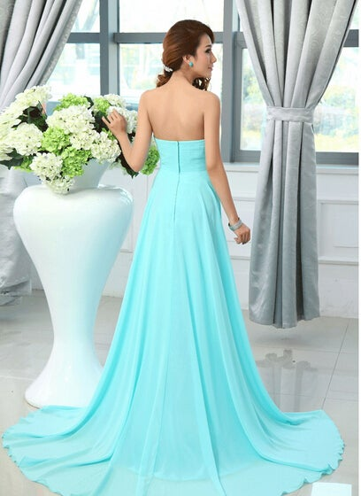Beautiful Blue Chiffon Sweetheart Wedding Party Gown, Blue Formal Dress 2020