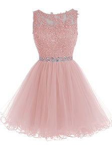 Cute Pink Handmade Tulle Beaded Party Dress, Pink Homecoming Dress