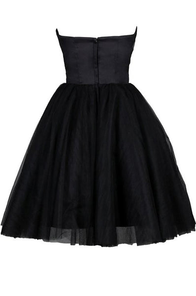 Tulle Little Black Dress, Sweetheart Simple Short Party Dress 2020