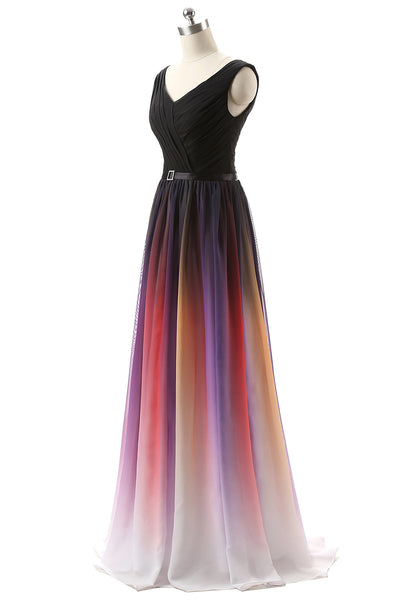 Beautiful Gradient Chiffon V-neckline Bridesmaid Dress, A-line Floor Length Prom Dress