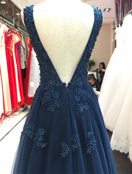 Charming Navy Blue A-line V Back Long Party Gown, Evening Gown