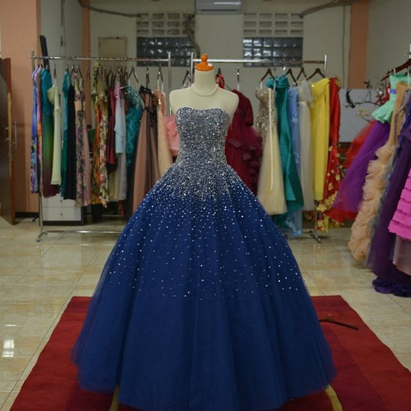 Blue Tulle Sequins Long Ball Gown Formal Dress, Sparkle Blue Quinceanera Dress