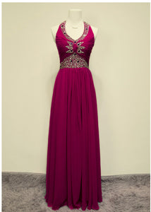 Beautiful Chiffon Halter Beaded Long Prom Dress, Chiffon Wedding Party Dress
