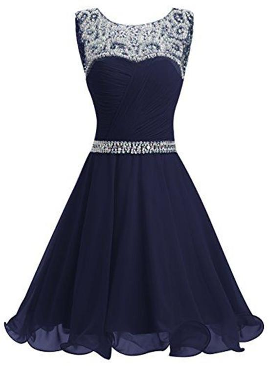 navy blue chiffon sequins homecoming dress