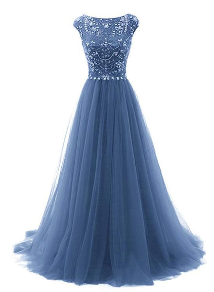 Elegant Long Blue Round Neckline Beaded A-line Party Dresses, Long Formal Gowns 2019