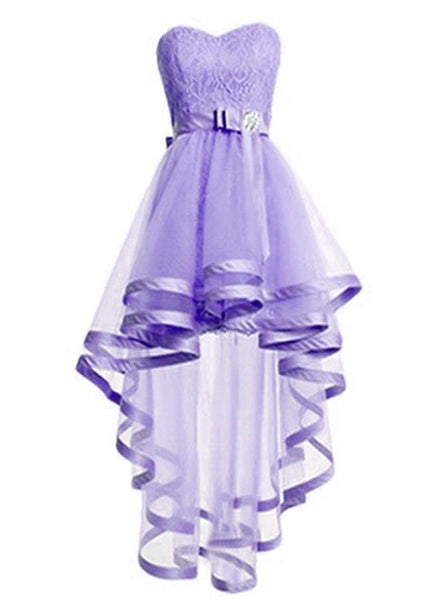 Adorable Light Purple Tulle with Lace Homecoming Dress, High Low Prom Dress