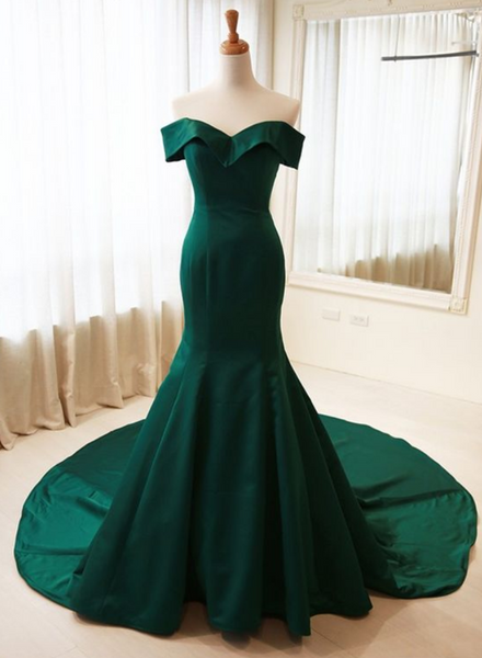 Dark Green Satin Long Party Dress, Mermaid Off Shoulder Prom Dress