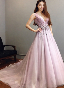 Pink Tulle V-neckline Beaded Long Party Dress, A-line V Back Prom Dress