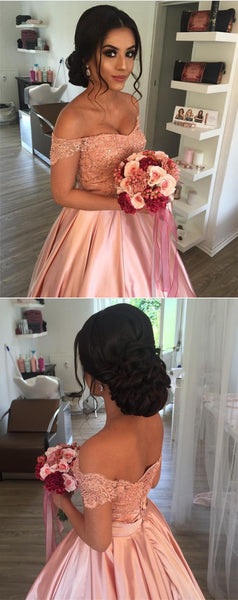 Pink Lace Top and Satin Off Shoulder Ball Gown Formal Dress, Pink Princess Sweetheart Party Dress