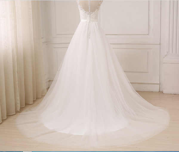 White Chiffon Simple Long Beach Wedding Dress with Lace, Chiffon Wedding Party Dress