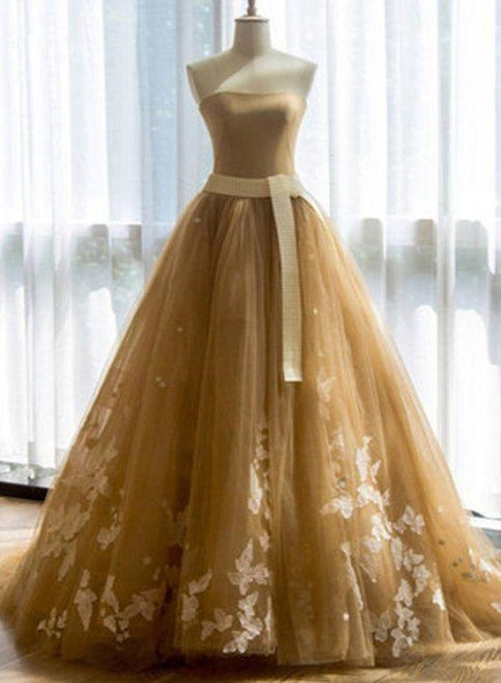 Champagne Tulle Apploque Prom Dress with Sash, Ball Gown Tulle Formal Dress Party Dress