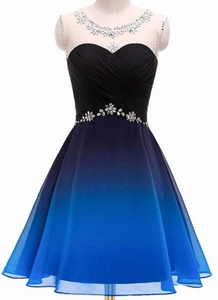 Cute Blue and Black Gradient Beaded Short Prom Dress, Chiffon Homecoming Dress