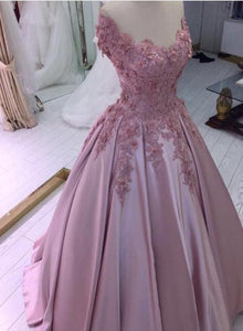Pink Flowers Off Shoulder Satin Ball Gown Prom Dress, Pink Evening Dress Party Dress