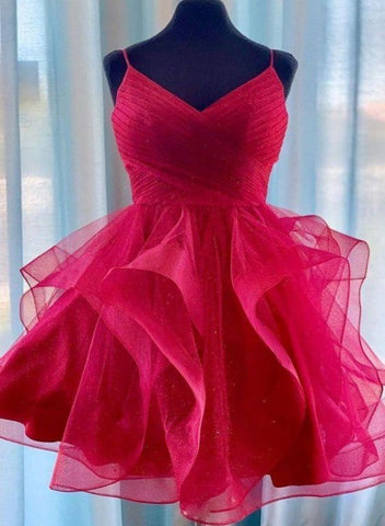 Dark Red Tulle Layers Straps V-neckline Short Prom Dress, Dark Red Homecoming Dress Party Dress