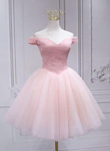 Lovely Pink Off Shoulder Style Princess Tulle Homecoming Dress, Pink Prom Dress Party Dress