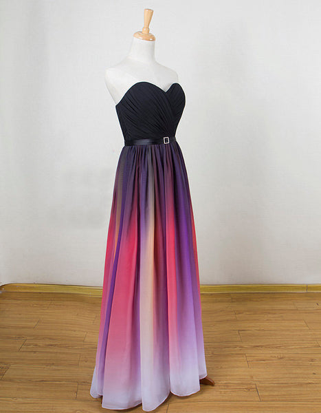 Beautiful Gradient Sweetheart A-line Party Dress, Long Simple Prom Dress