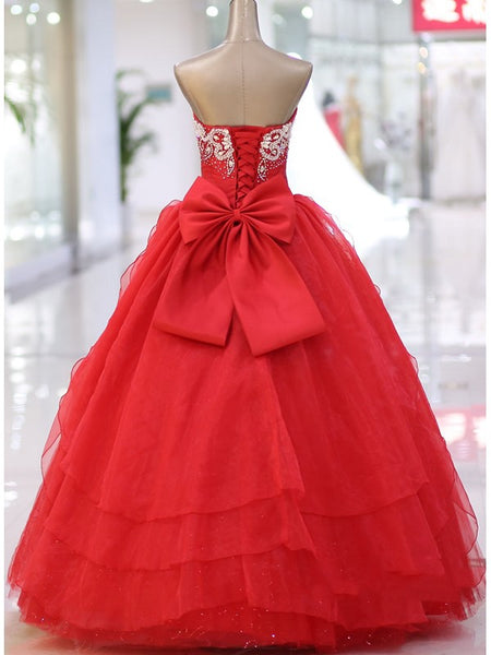 Red Beaded Sweetheart Lace-up Bow Pirncess Formal Dress, Red Sweet 16 Gown