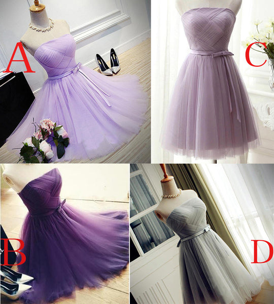 Lovely Tulle Short Homecoming Dress, Scoop Simple Cute Prom Dress Grduation Dress