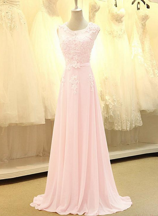 Beautiful Pink Long Party Dress 2020, A-line Bridesmaid Dress