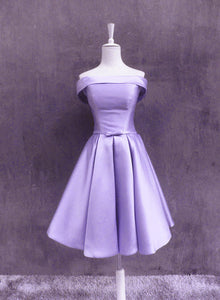 High Quality Satin Short Off Shoulder Homecoming Dress, Lavender Prom Dress