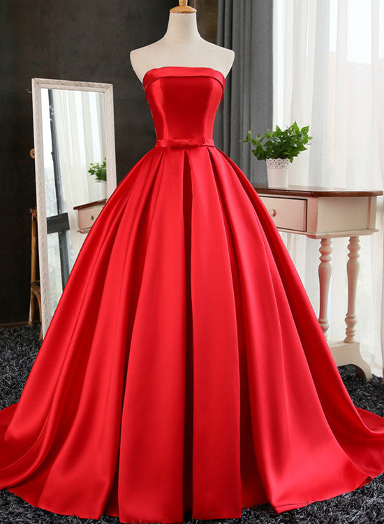 Charming Red Satin Long Party Dress, Red Prom Dress 2020