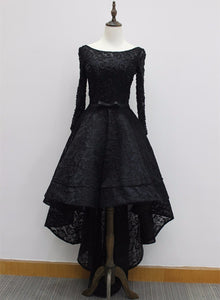 black lace high low party dress
