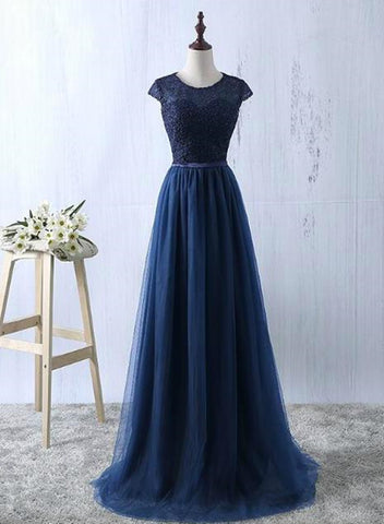 Beautiful Navy Blue Tulle Long Bridesmaid Dresses, Navy Blue Bridesmaid Dresses 2019