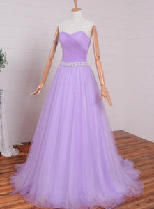Light Purple Sweetheart Simple Beaded Waist Long Party Dress, Tulle Evening Gown Prom Dress