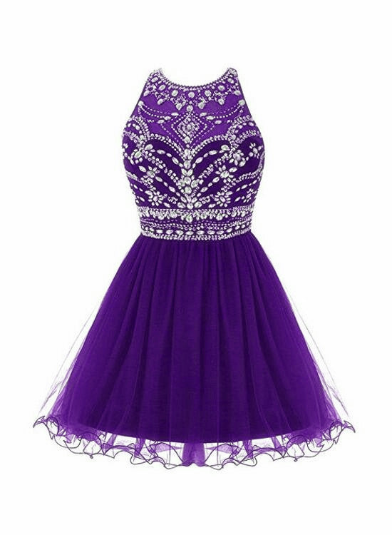 Dark Purple Beaded Tulle Homecoming Dress, Short Prom Dress 2021