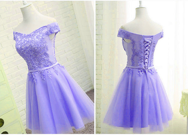 Purple Short Sleeves Lace Off Shoulder Party Dress, Cute Purple Homecoming Dress