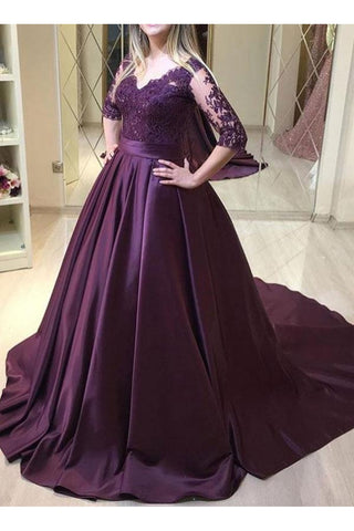 Purple Satin 1/2 Sleeves Lace Top Long Formal Dress, Purple Evening Dress Party Dress